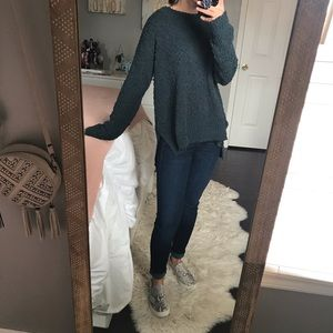 Boutique Green Popcorn Knit Sweater